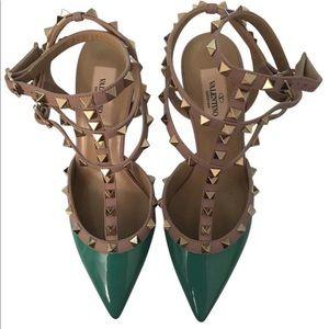 Valentino teal/aqua rockstud kitten heels size 38